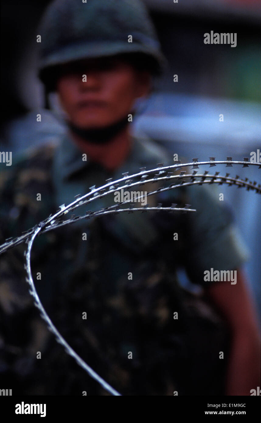 Army repression of the May 1992 riots in Bangkok - Stock Image