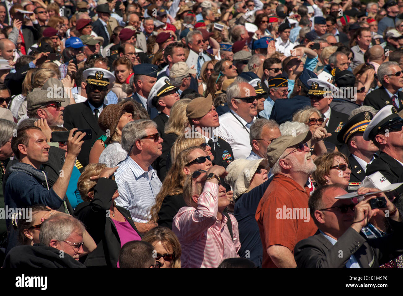 Colleville, Normandy, France. 6th June, D-Day Anniversary Ceremonies, Aerial View of Audience Crowd Scene Stock Photo