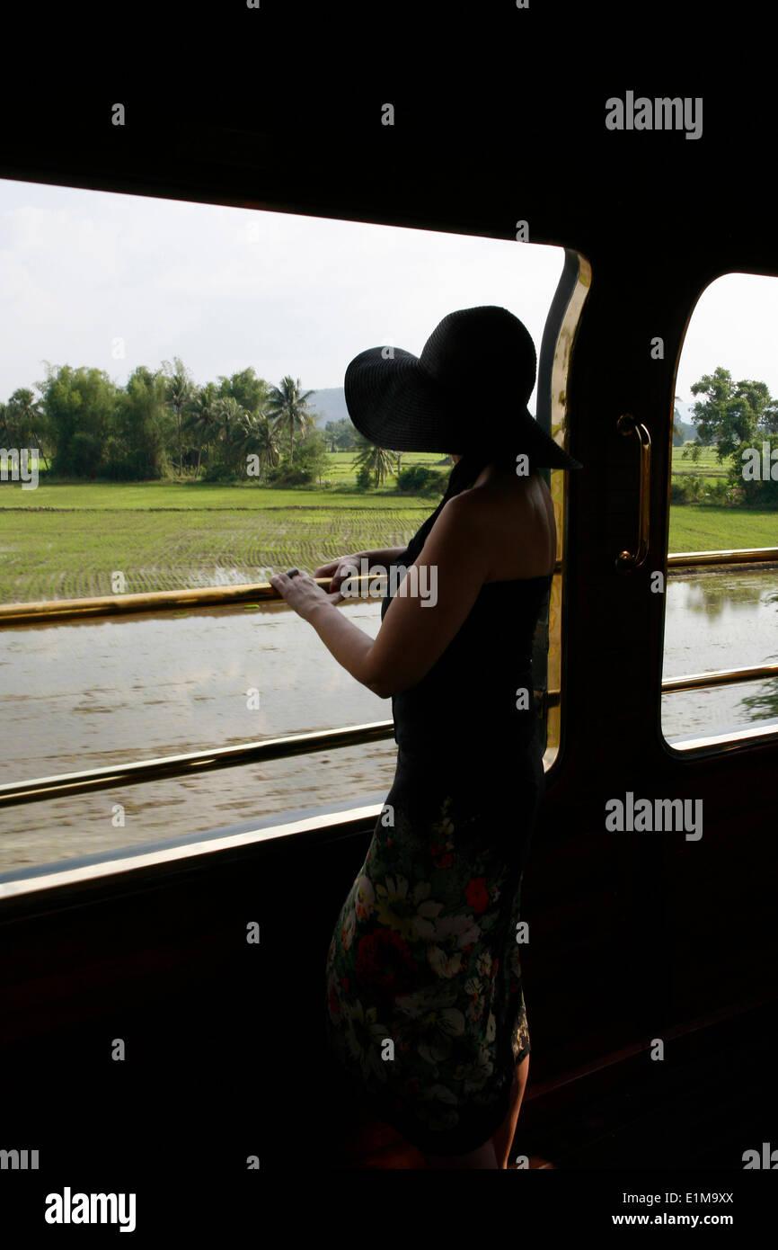 Eastern & Oriental Express train passenger - Stock Image
