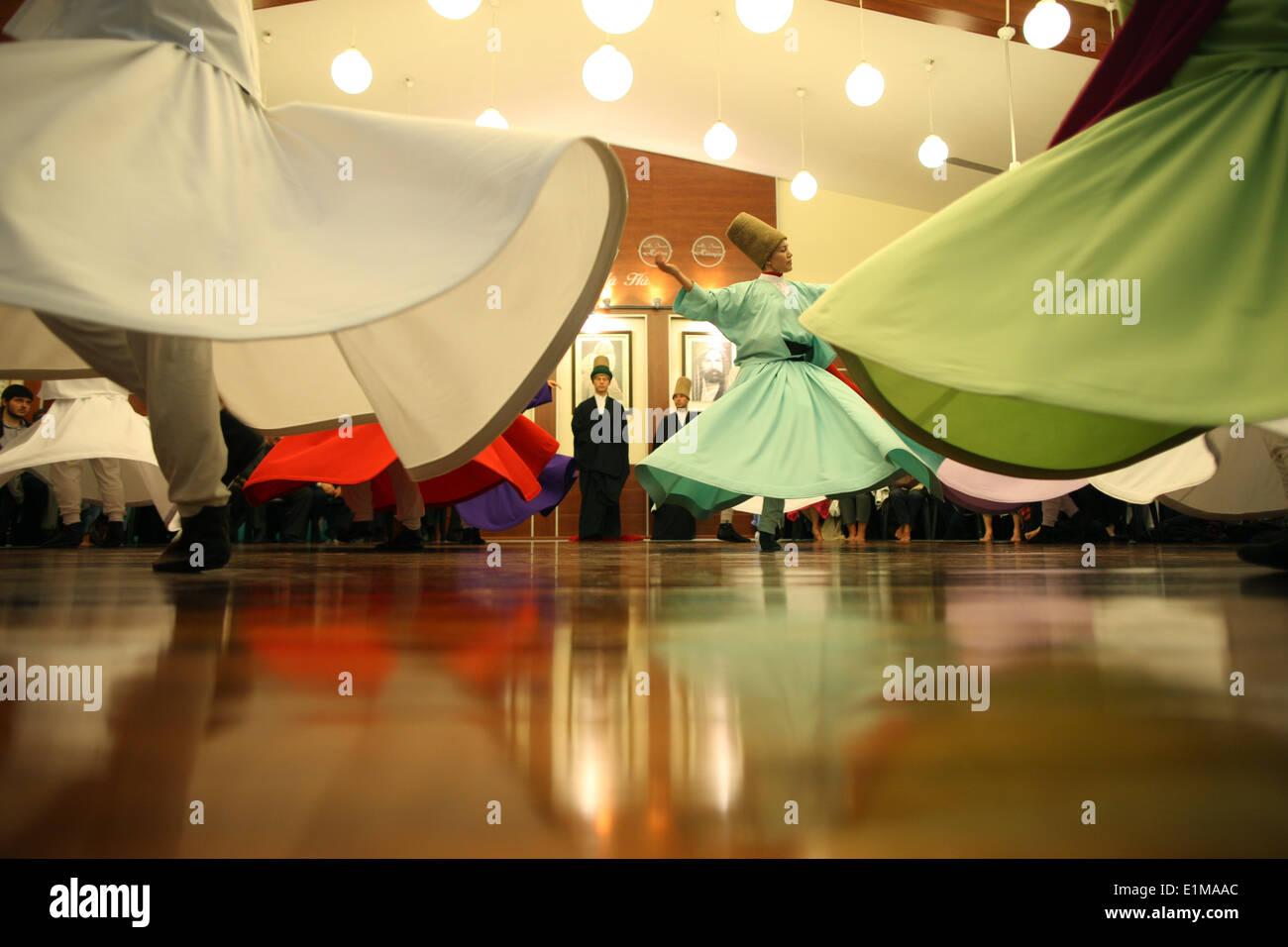 Whirling dervish performance in Silvrikapi Meylana cultural center - Stock Image