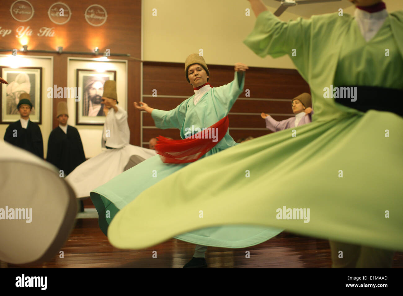 Whirling dervishes performance in Silvrikapi Meylana cultural center. - Stock Image