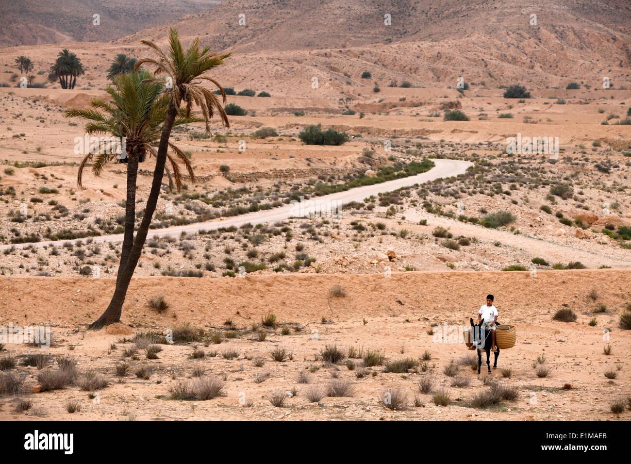 Boy on a donkey in a parched landscape - Stock Image
