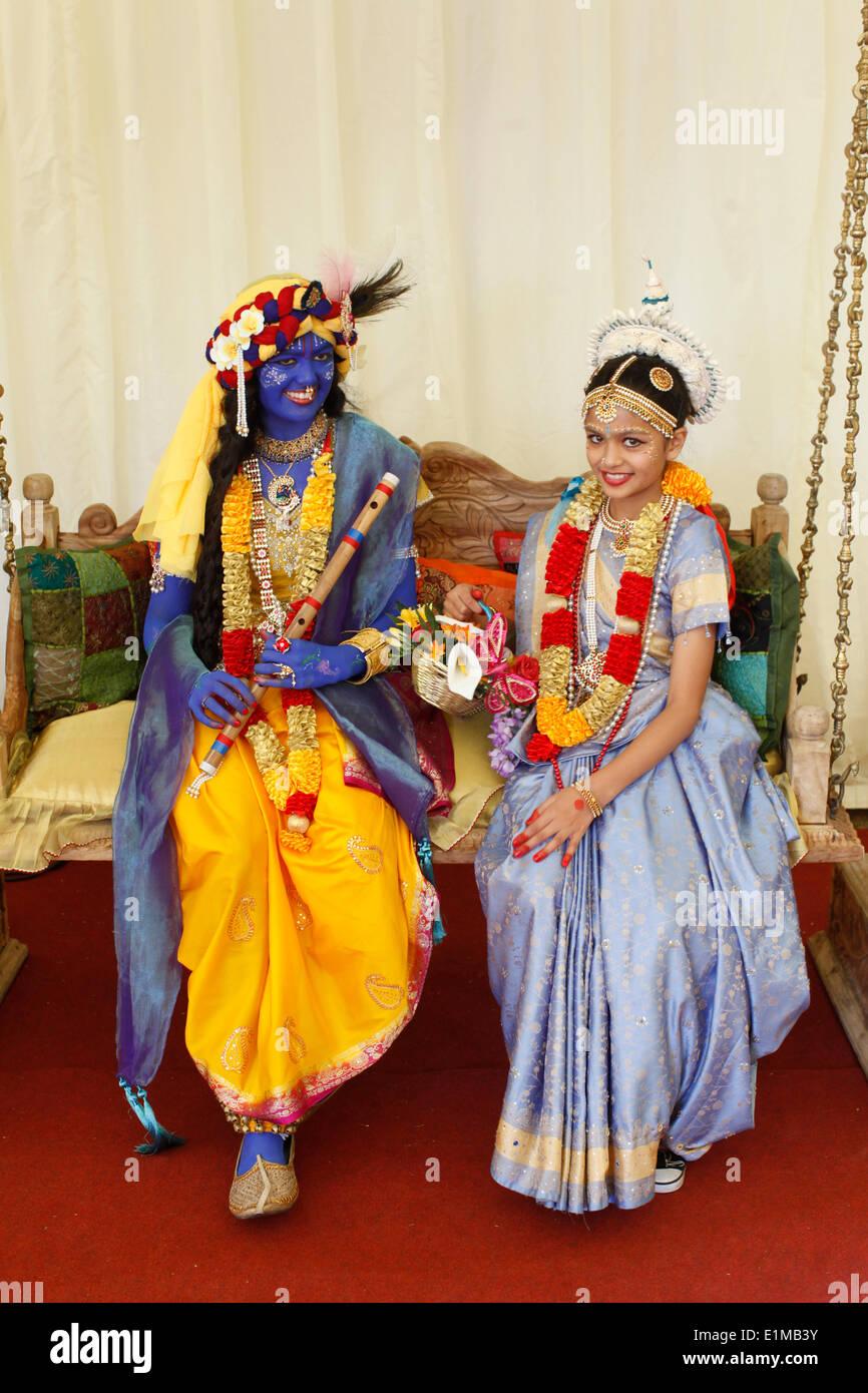couple impersonating hindu gods krishna radha at janmashtami stock