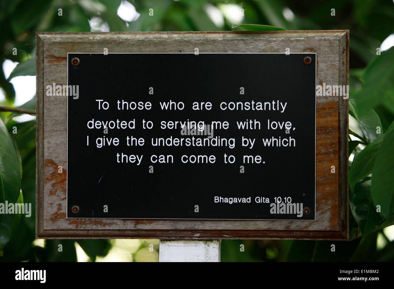 Bhaktivedanta Manor Quotation from the Bhagavad Gita - Stock Image