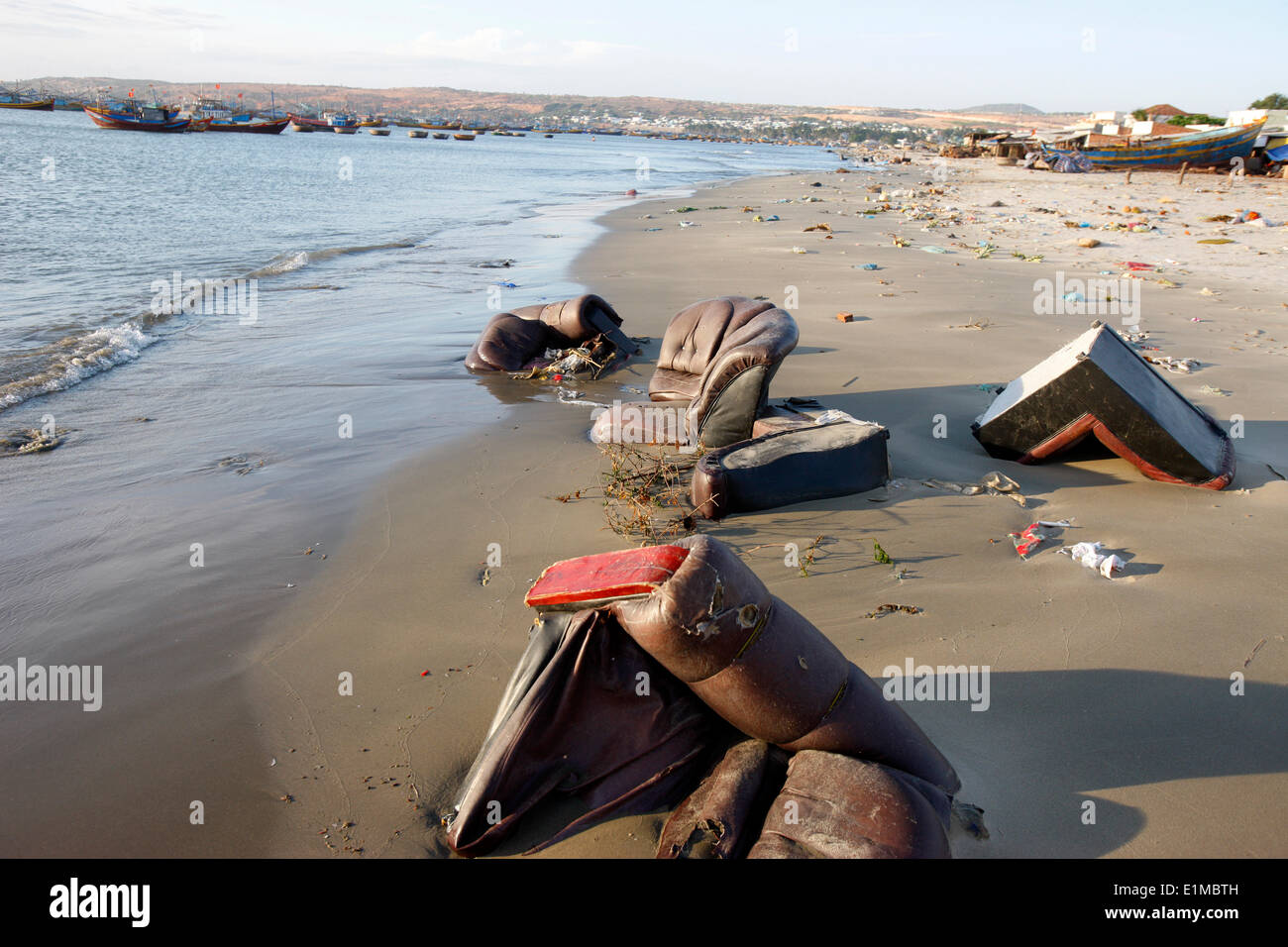 Polluted beach in Mui Ne. - Stock Image