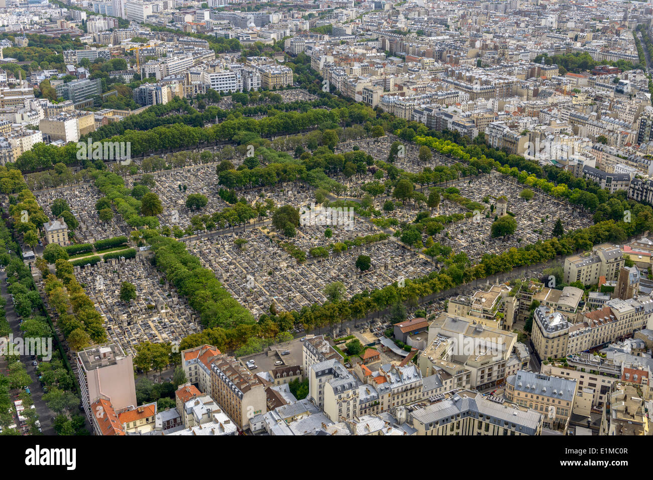 Aerial view of Pere Lachaise Cemetery taken from Montparnasse Tower in Paris, France Stock Photo