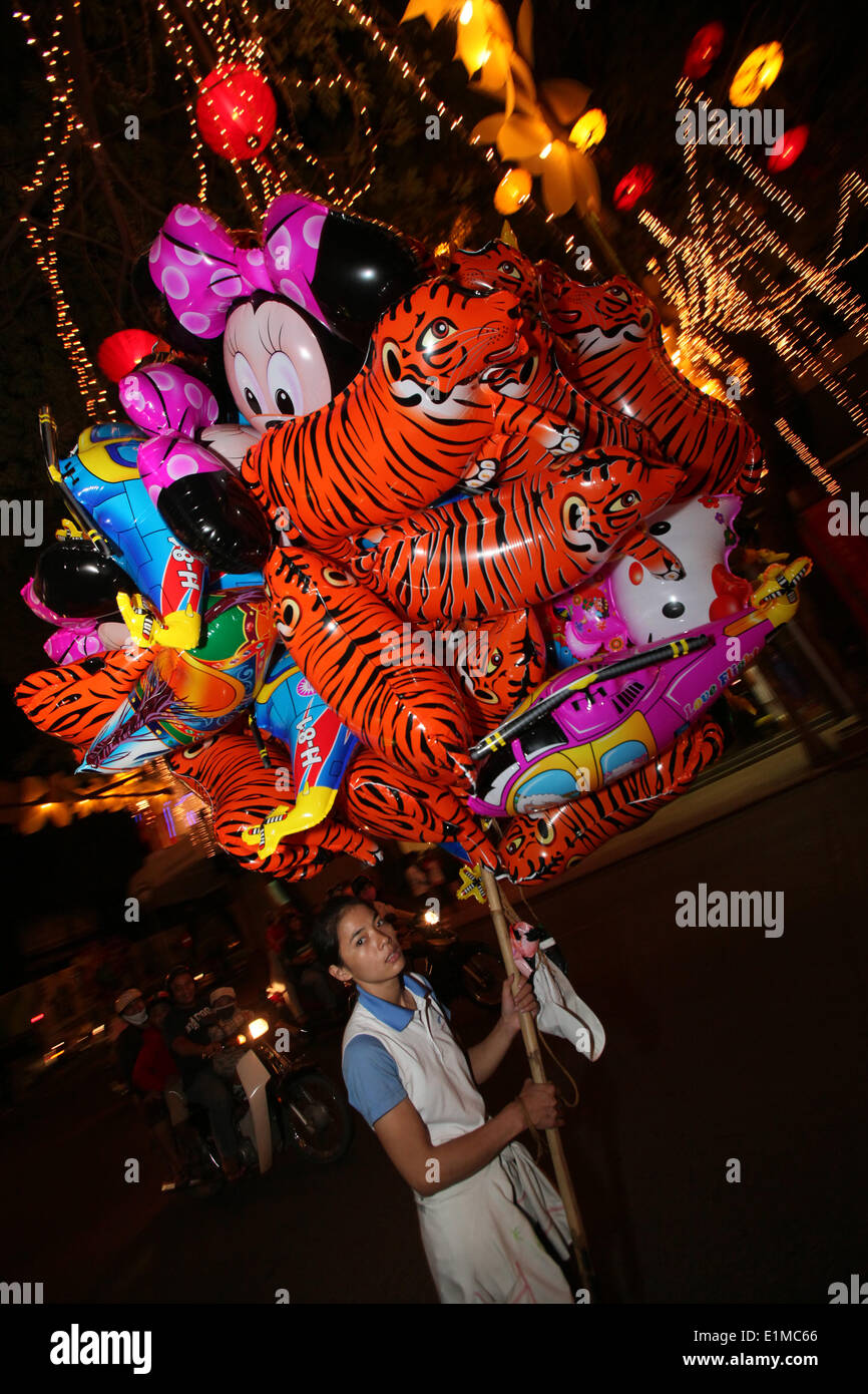 Balloons for the chinese New Year.  2010 welcomes the year of the tiger. - Stock Image