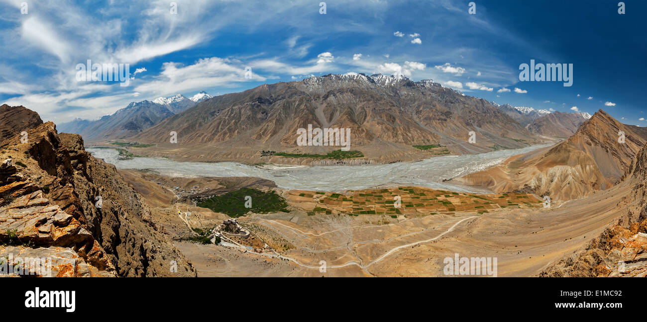 Aerial panorama of Spiti valley and Key gompa in Himalayas. Spiti valley, Himachal Pradesh, India - Stock Image