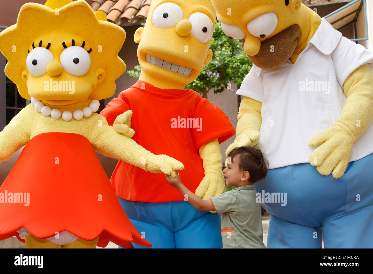 Boy with the Simpsons at Universal Orlando - Stock Image