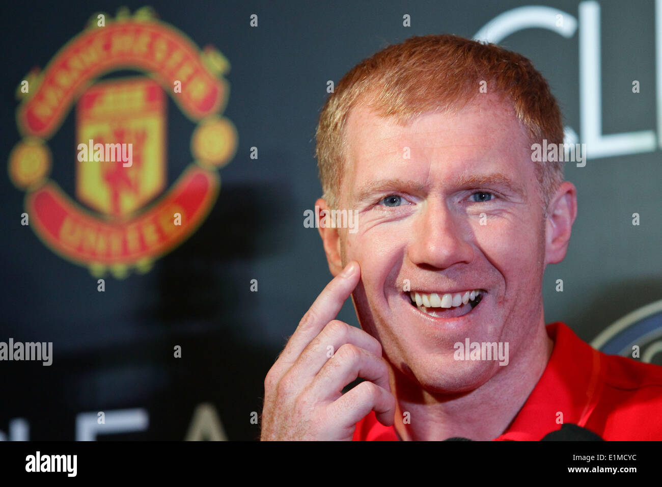 Manila, Philippines. 6th June, 2014. Makati, Philippines - Former Manchester United player Paul Scholes smiles during a press conference in Makati on June 6, 2014. Together with Andy Cole, they will play an exhibition game against local amatuer and professional football players. Credit:  Mark Cristino/NurPhoto/ZUMAPRESS.com/Alamy Live News - Stock Image
