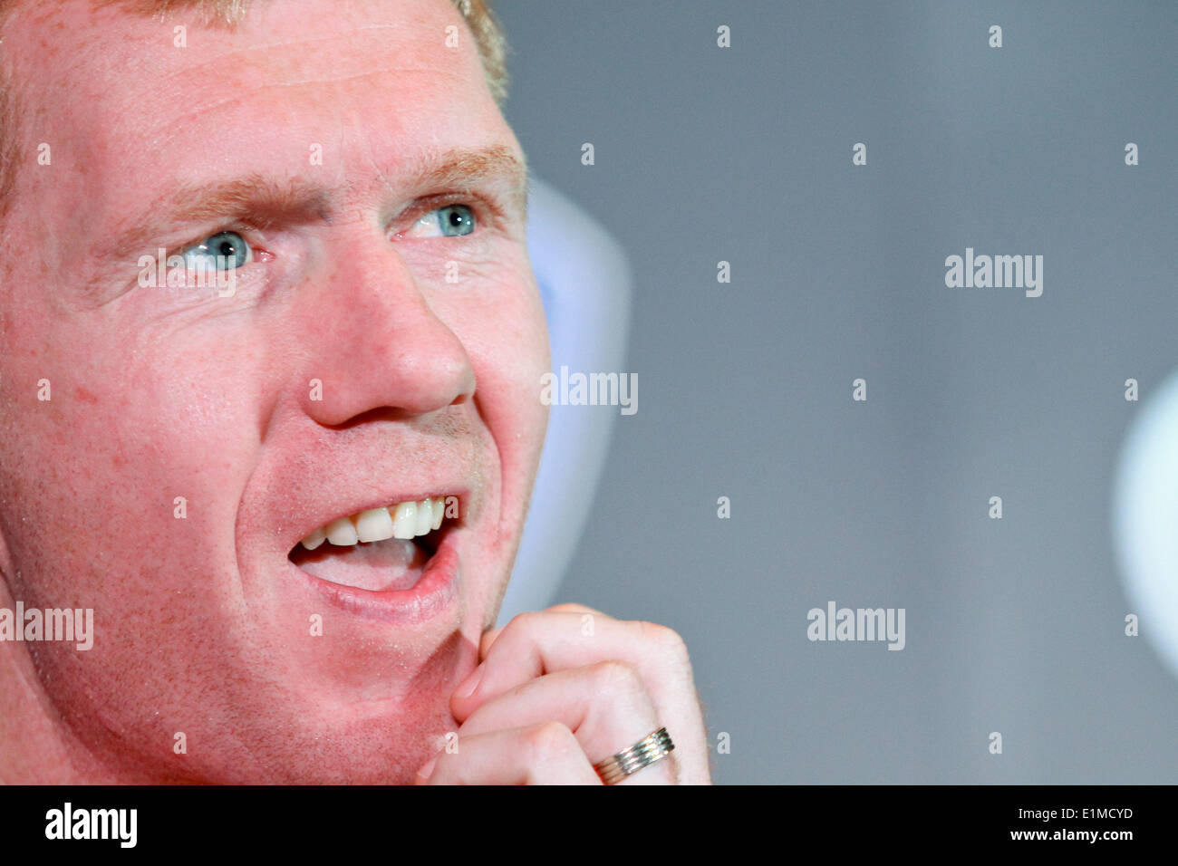 Manila, Philippines. 6th June, 2014. Makati, Philippines - Former Manchester United player Paul Scholes gestures during a press conference in Makati on June 6, 2014. Together with Andy Cole, they will play an exhibition game against local amatuer and professional football players. Credit:  Mark Cristino/NurPhoto/ZUMAPRESS.com/Alamy Live News - Stock Image