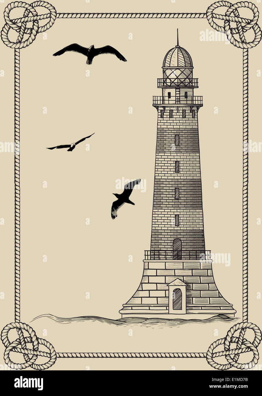 Old lighthouse in frame - Stock Image