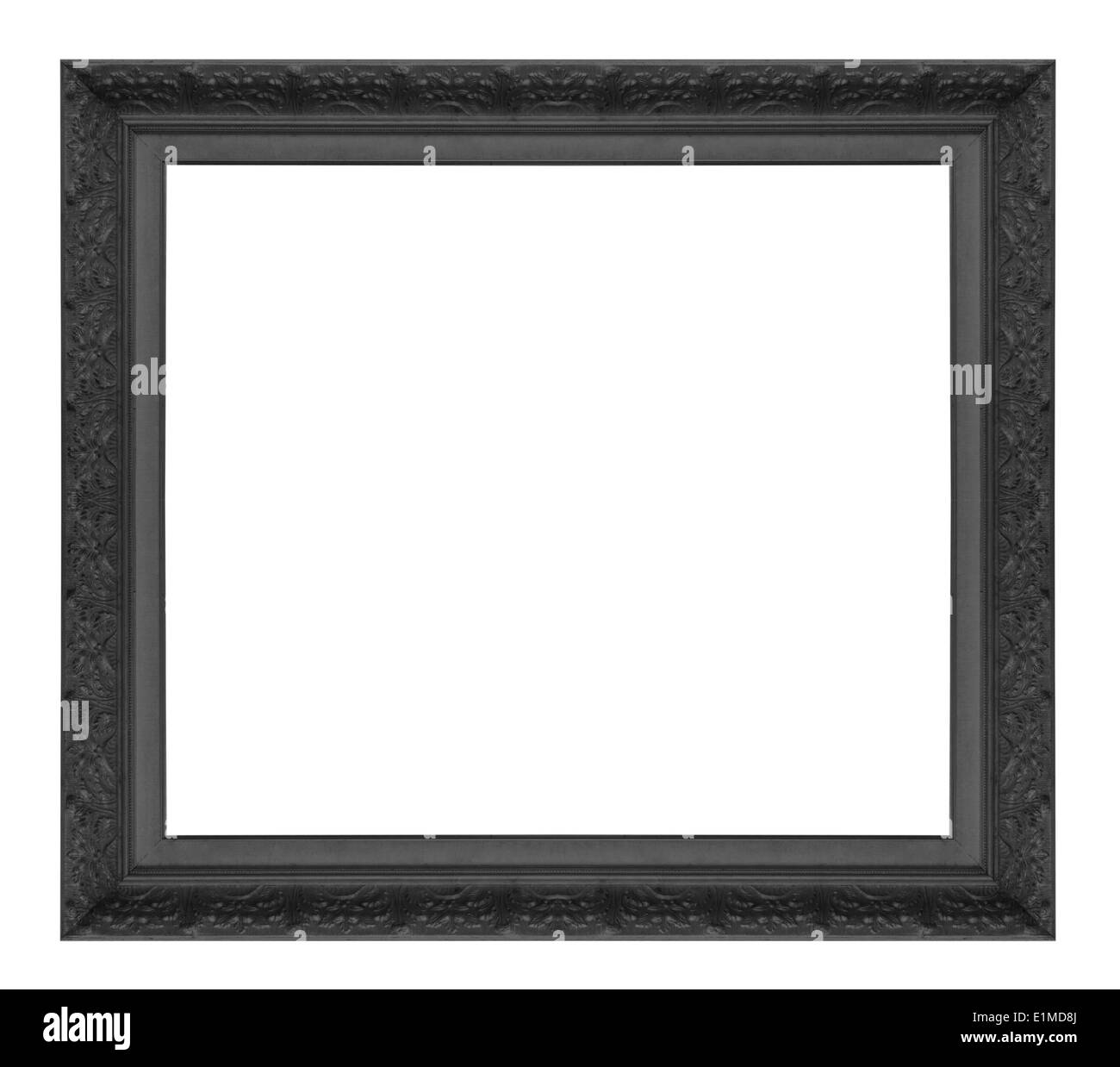 Antique black frame isolated on white background - Stock Image