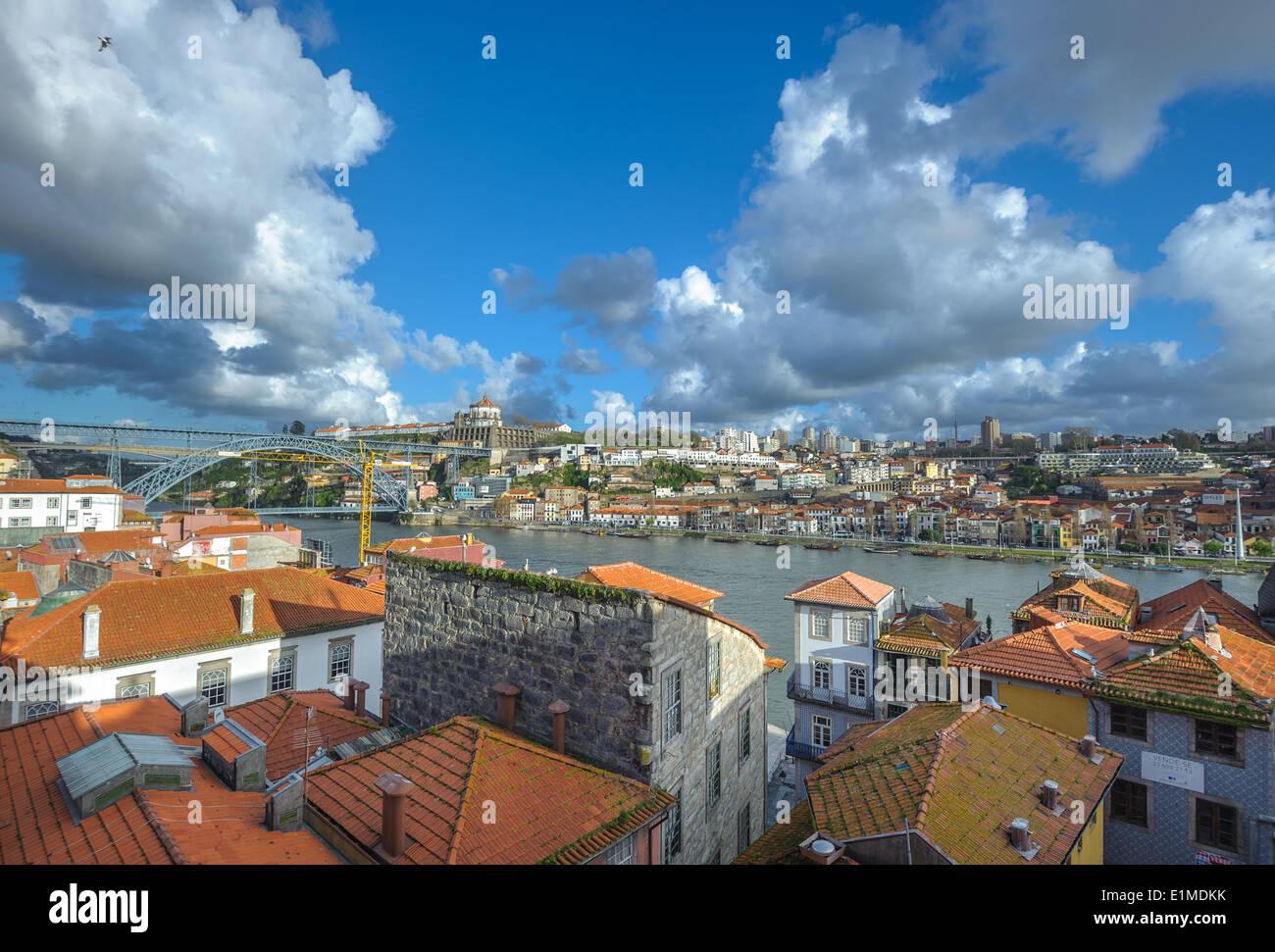 Panorama of Porto and Vila Nova de Gaia, Portugal - Stock Image
