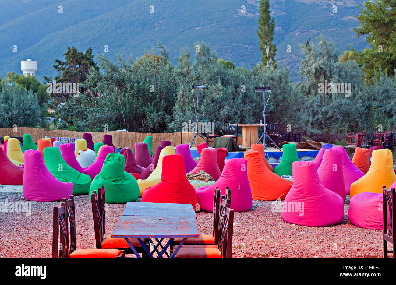 Fantastic Colourful Bean Bag Chairs At Cafe On The Beach Stock Photo Alphanode Cool Chair Designs And Ideas Alphanodeonline
