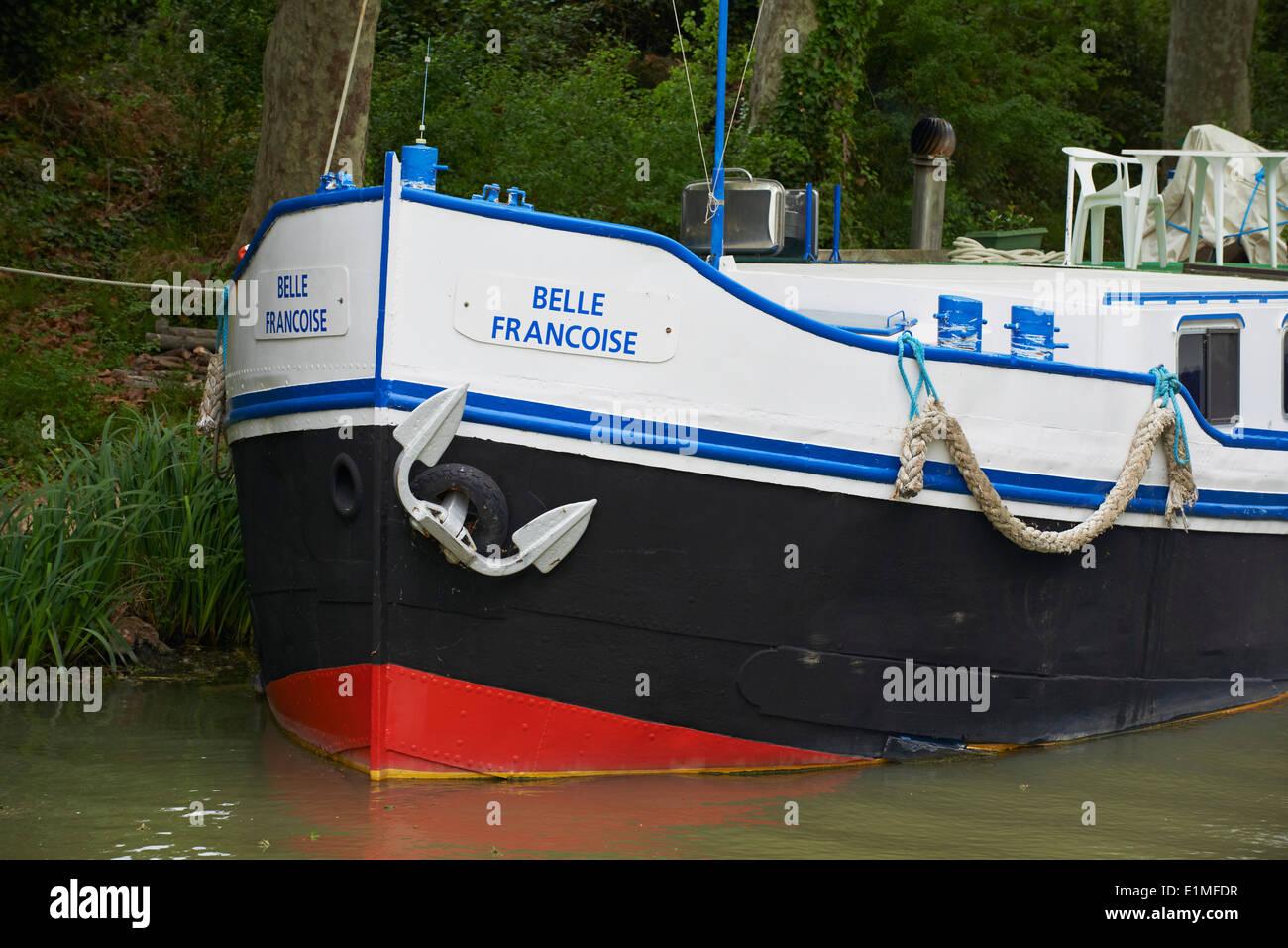 France, Languedoc-Roussillon, Aude (11), Canal du Midi, Barge details - Stock Image