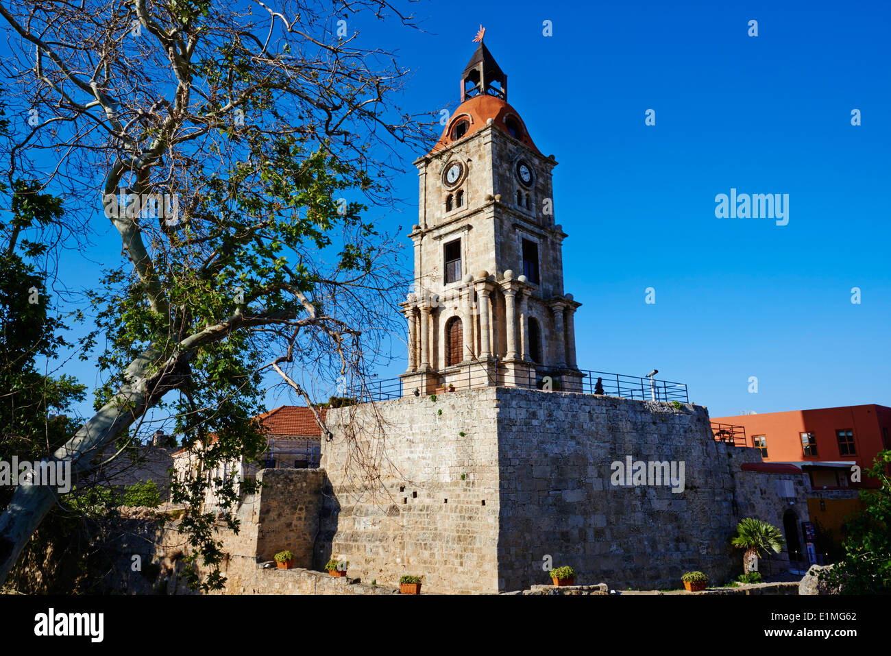 Greece, Dodecanese, Rhodes island, Rhodes city, Unesco word heritage, Clock Tower - Stock Image
