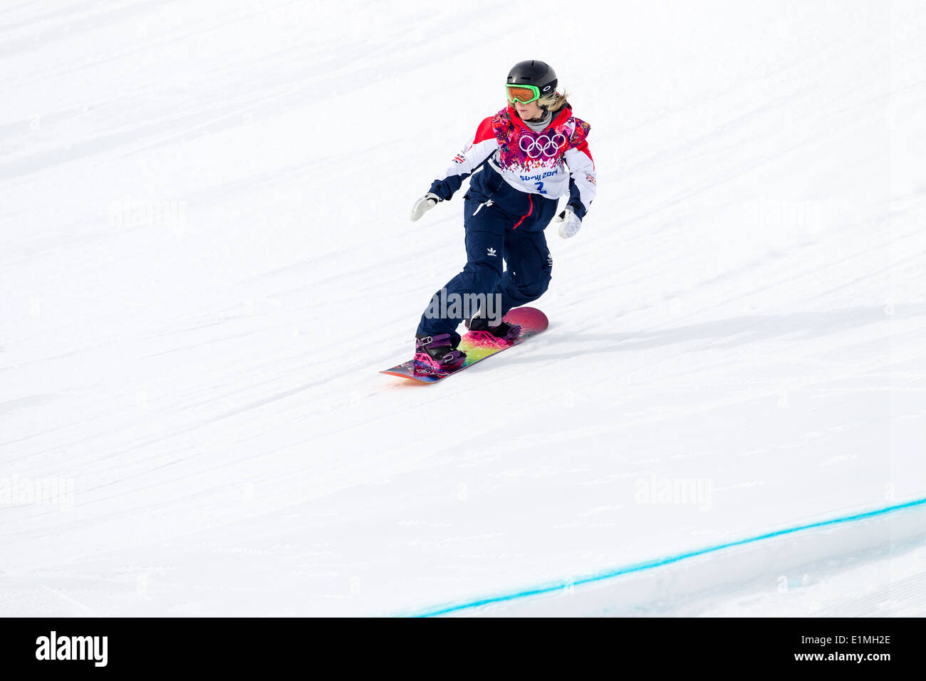 Jenny Jones (GRB) bronze medalist competing in Ladies's Snowboard Slopestyle at the Olympic Winter Games, Sochi 2014 - Stock Image