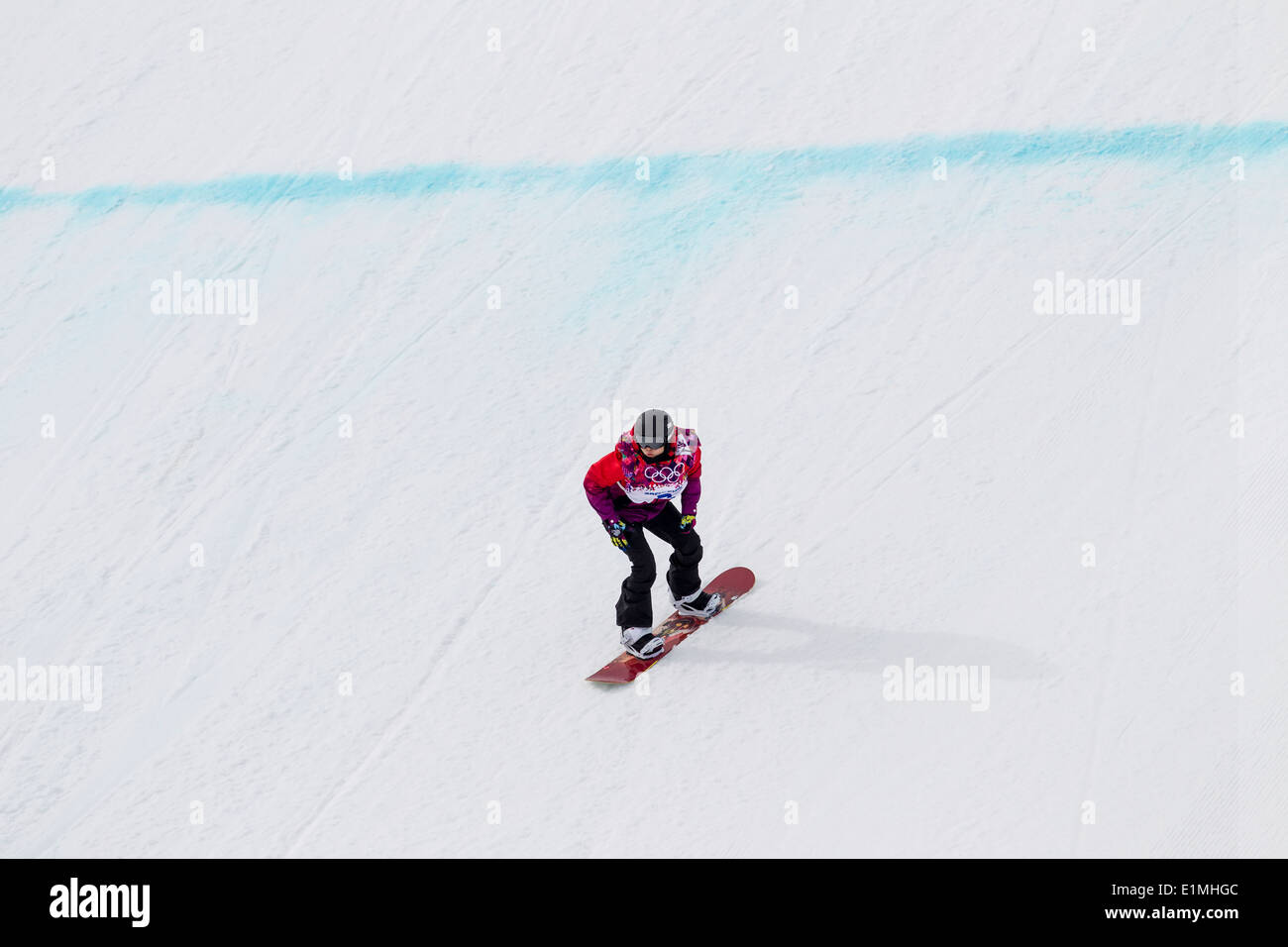 Sina Candrian (SWI) competing in Ladies's Snowboard Slopestyle at the Olympic Winter Games, Sochi 2014 - Stock Image