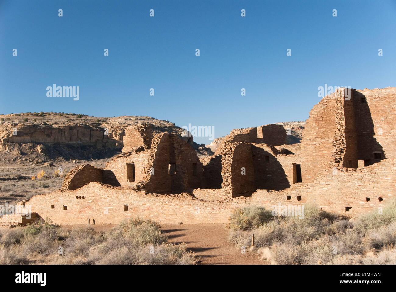 USA, New Mexico, Chaco Canyon National Historic Park, World Heritage Site, Pueblo Bonito - Stock Image