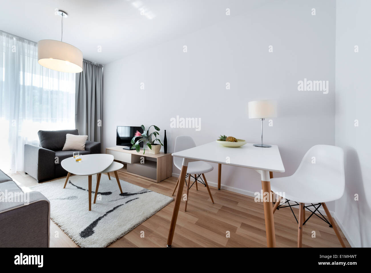 Modern white interior design room in scandinavian style stock image
