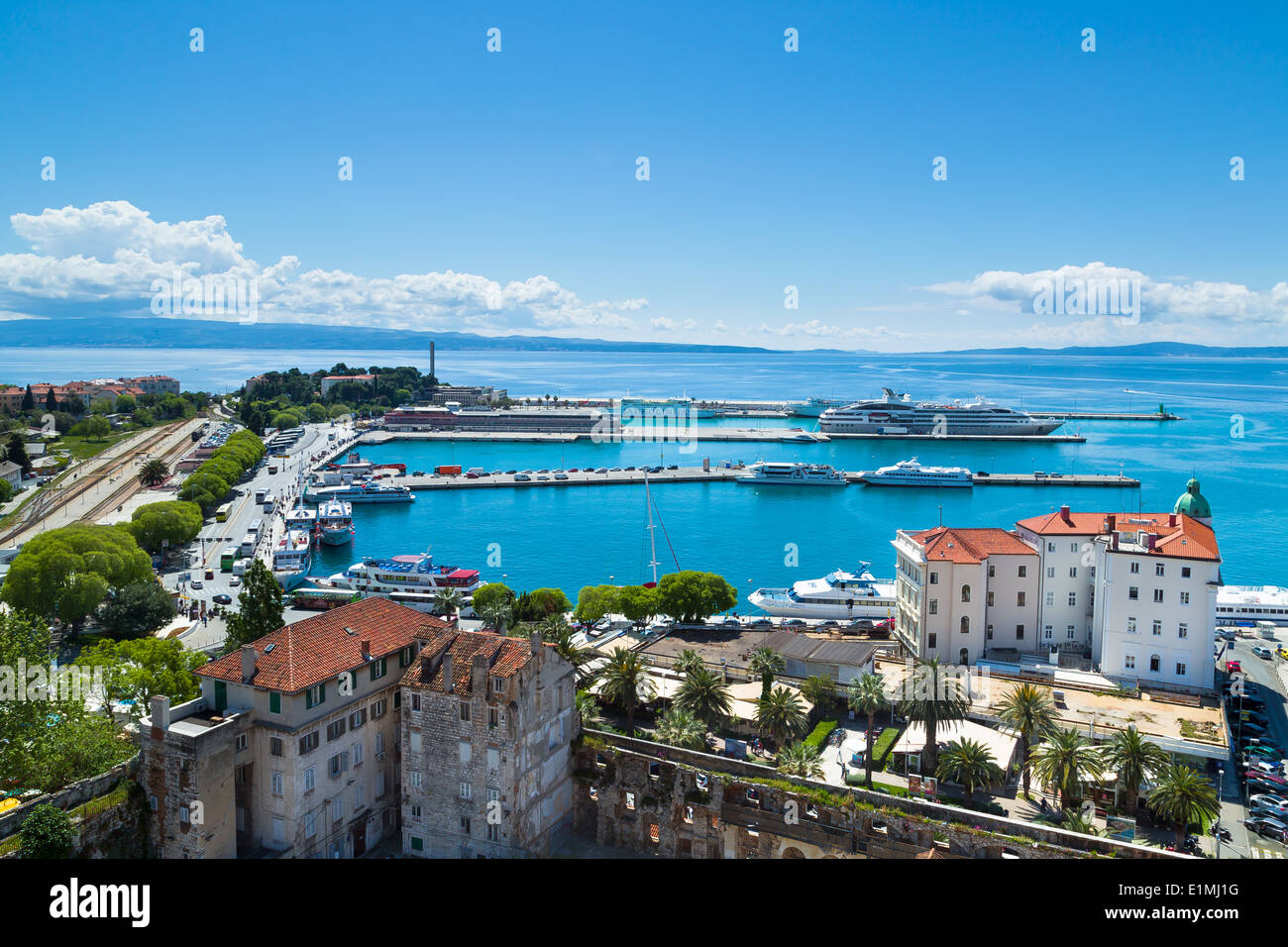 view to the South of split shows port authority building and ferry terminal. To the left is the train station and coach station - Stock Image
