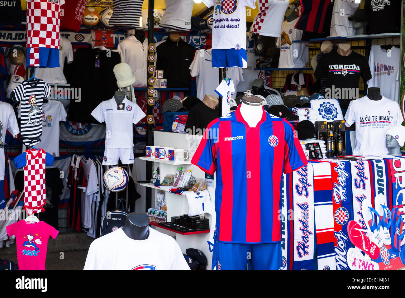 T Shirts And Scarves Of Hajduk Split Are On Sale As Souvenirs In A Stock Photo Alamy