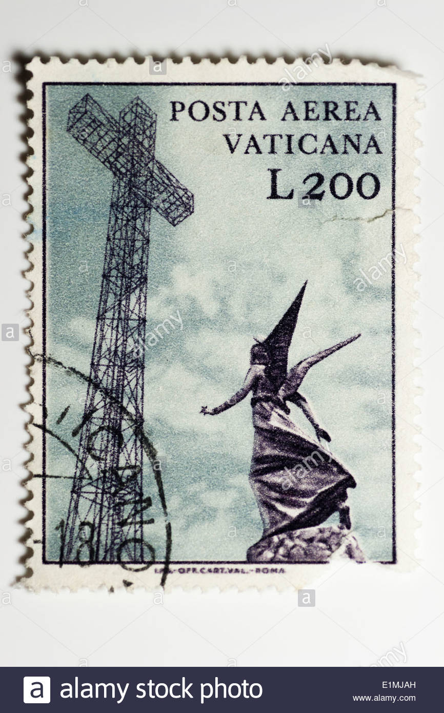 Issued 1967 Vatican City Stamp Face Value 200 Lira On The Theme Sculptures Airmail And Broadcasting