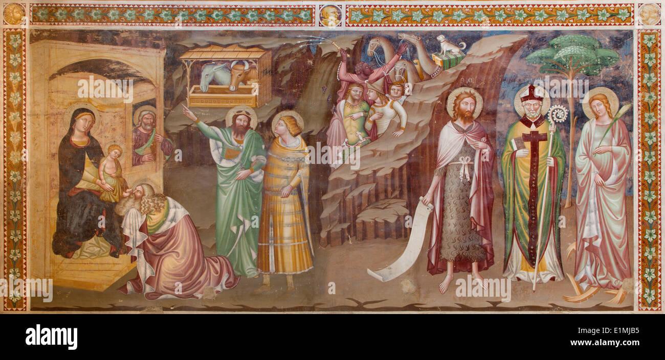 TREVISO, ITALY - MARCH 18, 2014: Fresco of Adoration of Magi (1370) in saint Nicholas or San Nicolo church. - Stock Image