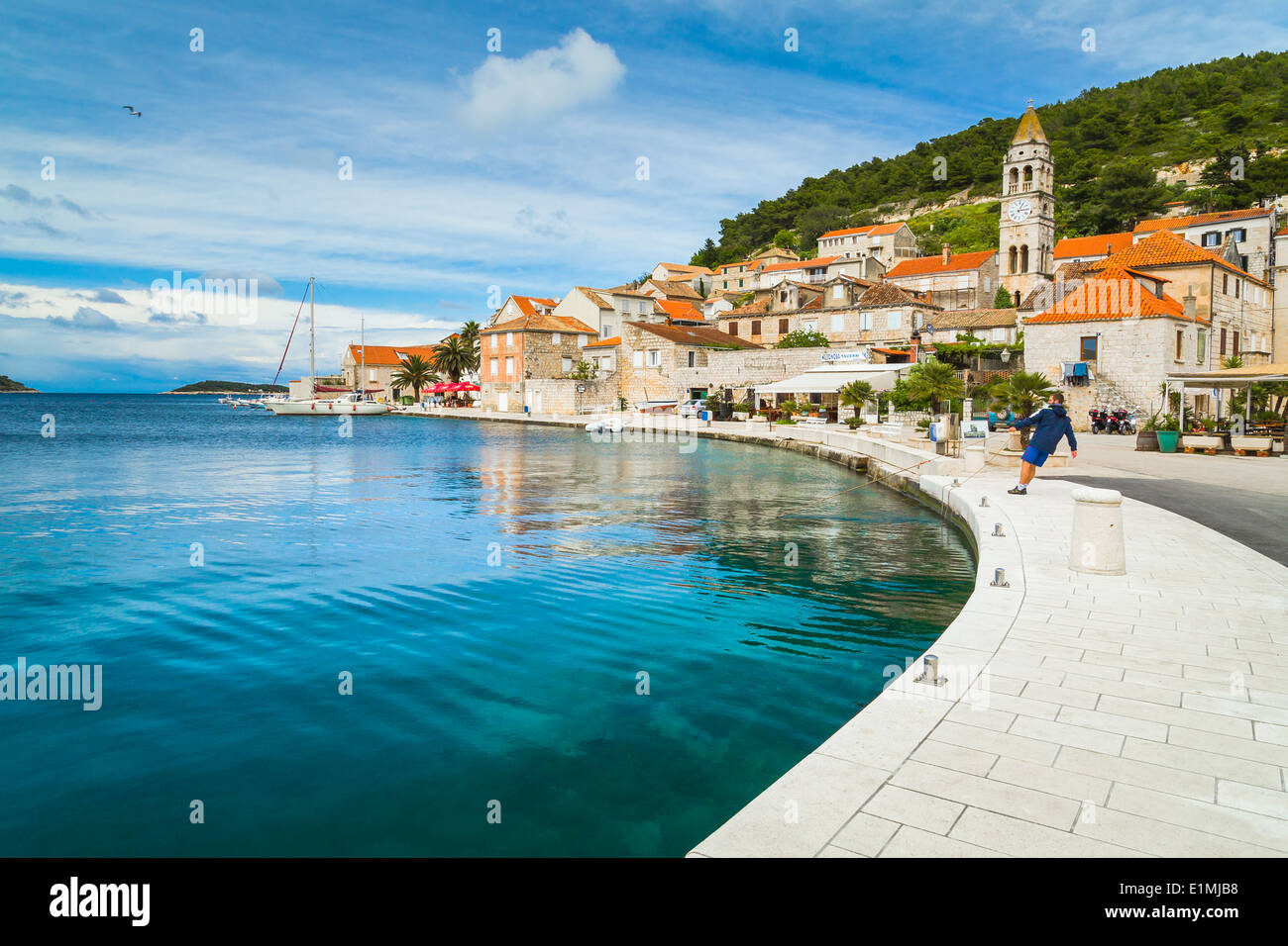 A scenic view of the east of the town of vis in dalmatia croatia where the church of st cyprian and justin dominates the skyline - Stock Image