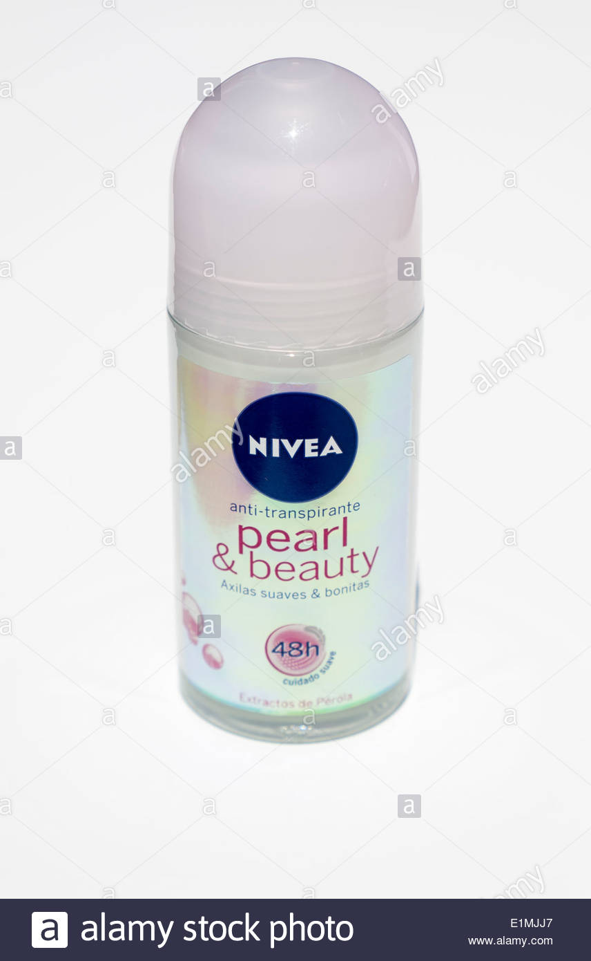 bottle of Nivea pearl and beauty roll on deodorant - Stock Image
