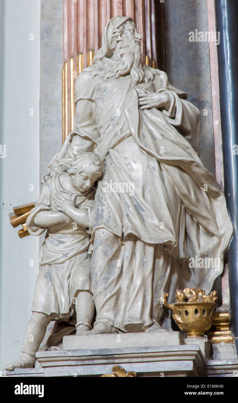 VIENNA, AUSTRIA - JULY 27, 2013: Statue of Abraham and Isaac from baroque church Maria Treu. - Stock Image