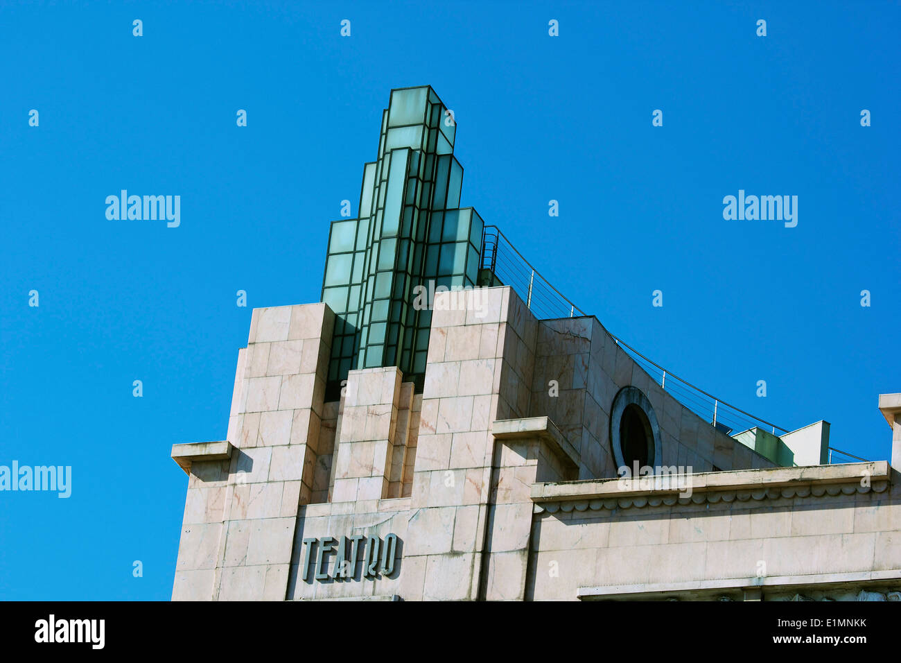Rooftop of Art deco 1930's Eden building a former theatre and cinema now a hotel Lisbon Portugal western Europe - Stock Image