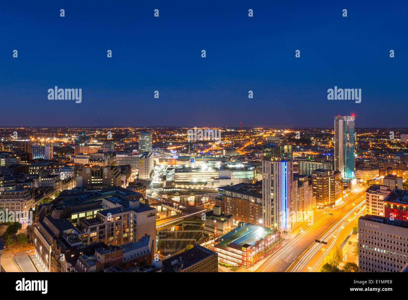 A night view of Birmingham city centre at night. Stock Photo