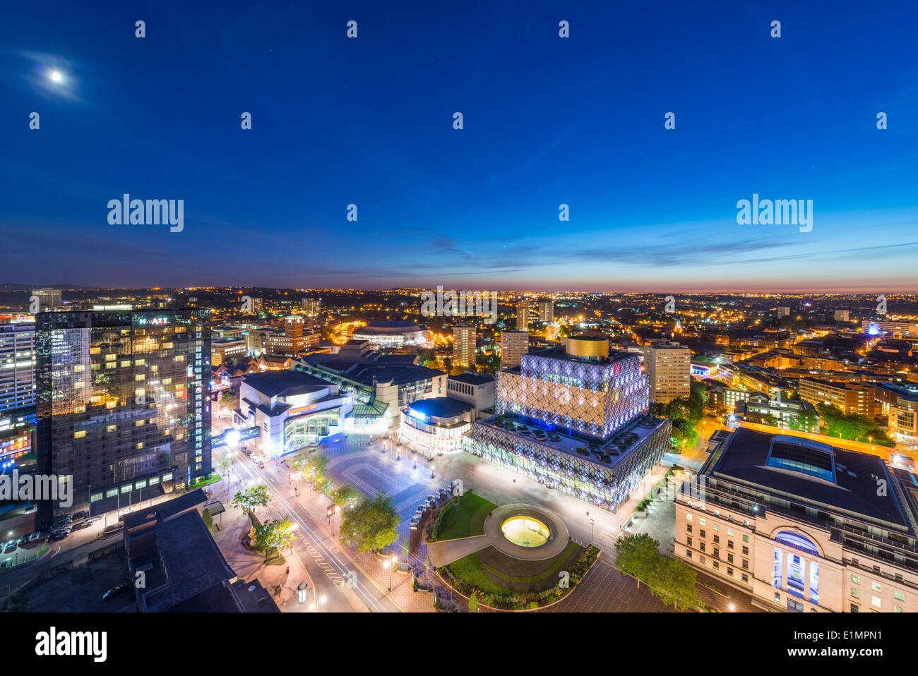 A night view of Birmingham city centre at night, showing Centenary Square and the new library of Birmingham. - Stock Image