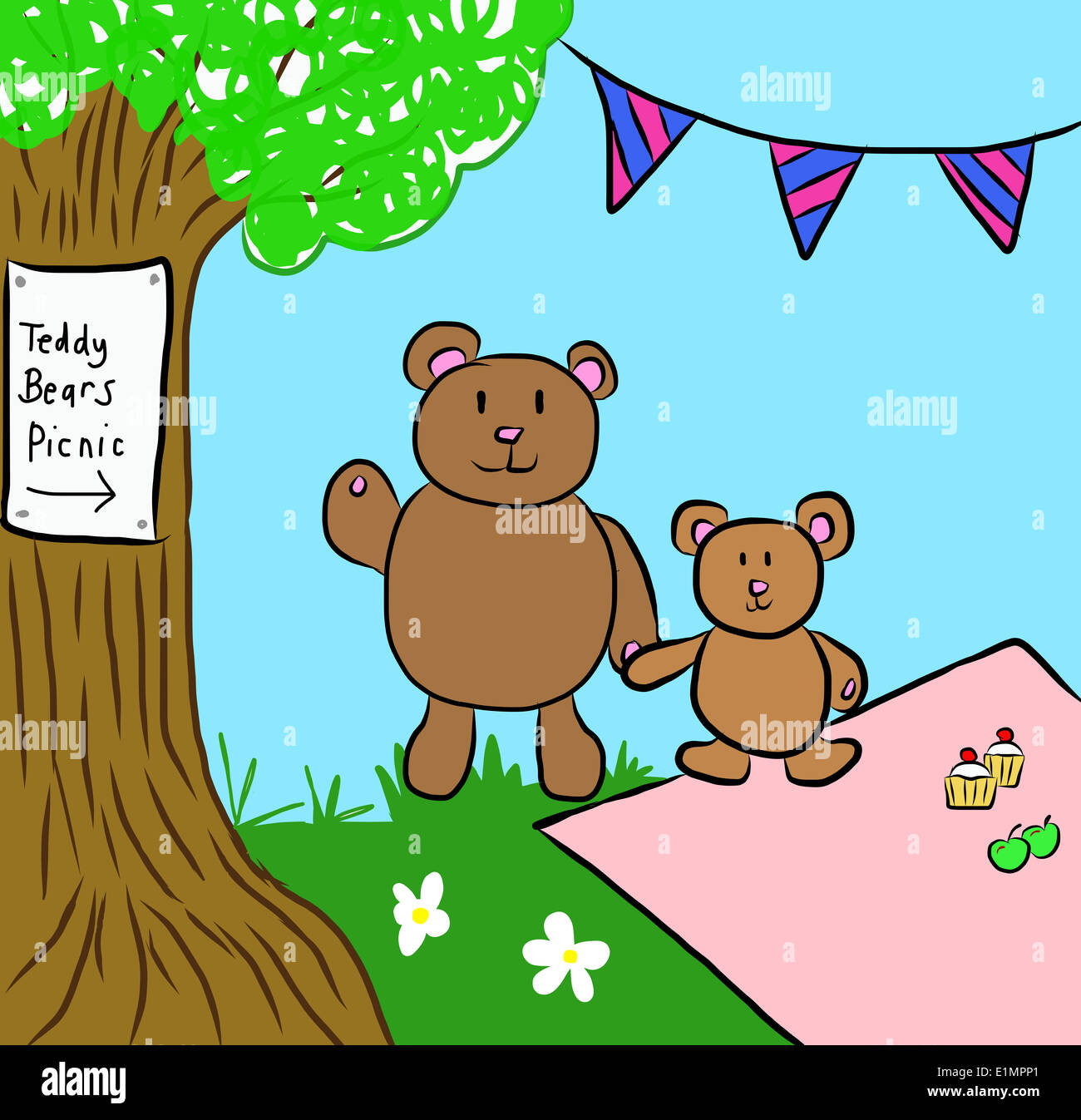 Illustration Of A Teddy Bears Picnic Stock Photo 69913033 Alamy