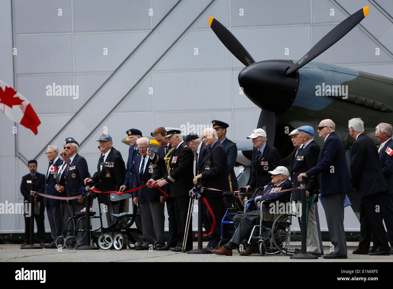 Ottawa, Canada Aviation and Space Museum in Ottawa. 6th June, 2014. Veterans participate in a ceremony marking the - Stock Image