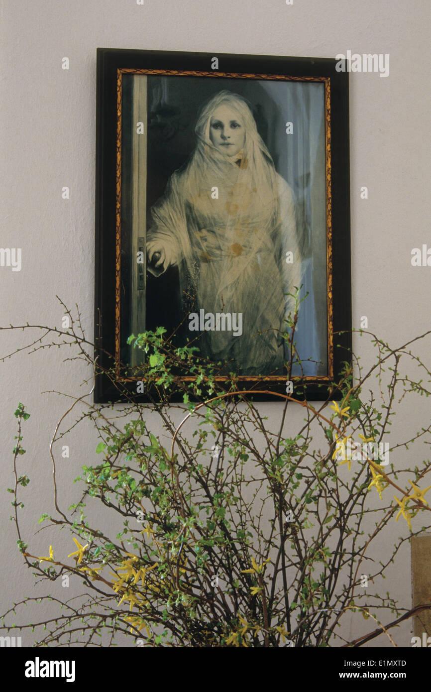Female ghost known as White Lady painted by German painter Gabriel von Max. Bouzov Castle, Moravia, Czech Republic. - Stock Image