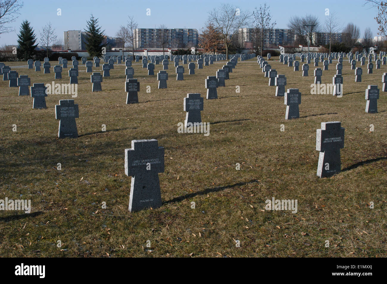 Graves of German Nazi soldiers on the ground of the German War Memorial at the Central Cemetery in Brno, Czech Republic. At least 1,561 German soldiers who served in the Wehrmacht and died during World War II are buried here. - Stock Image