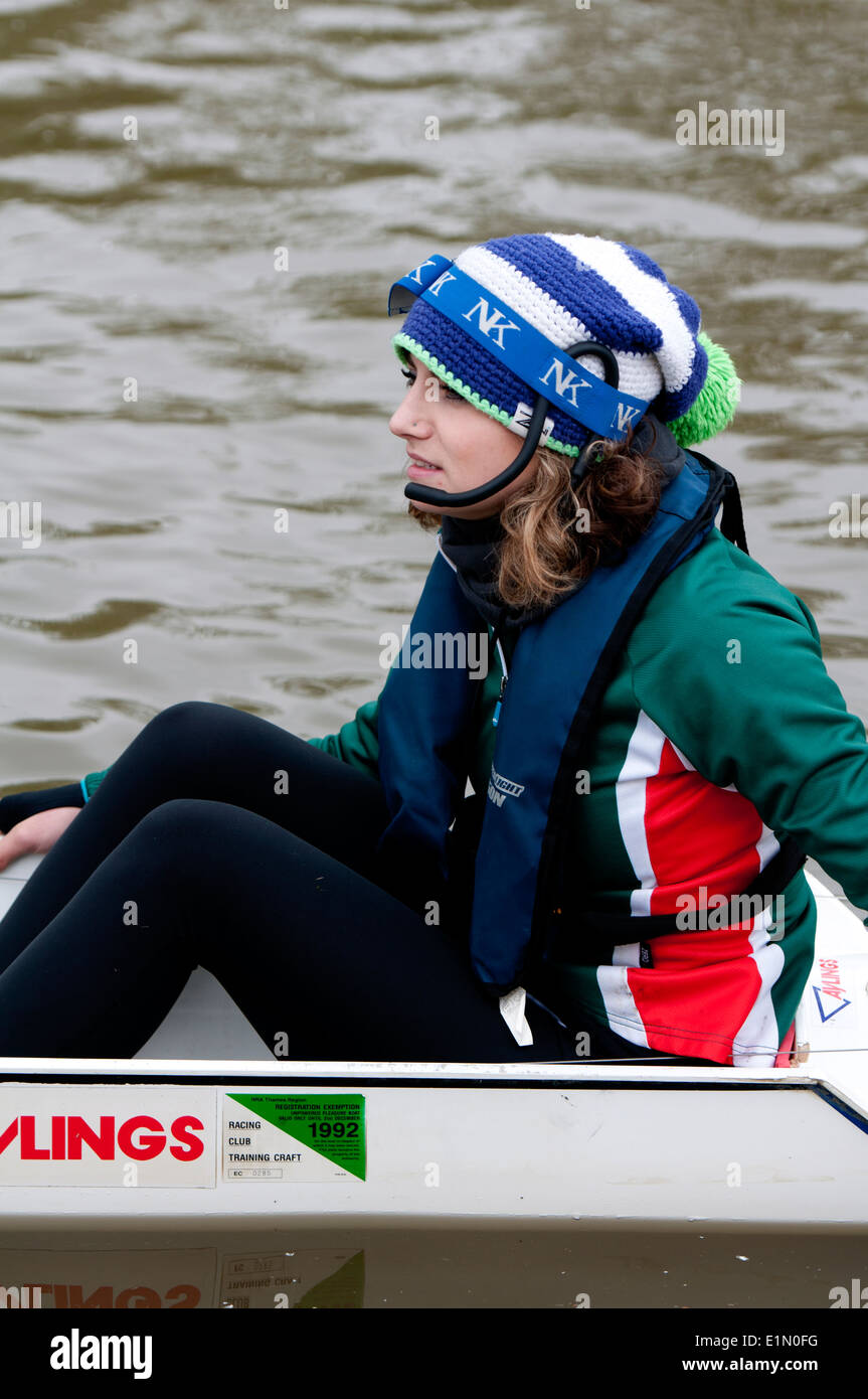 Oxford May Eights, a Jesus College cox, Oxford, UK - Stock Image