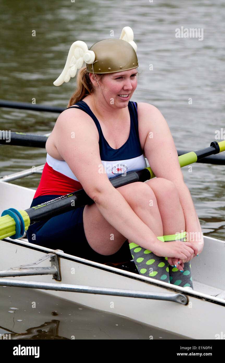 Oxford May Eights, a Jesus College ladies eight rower, Oxford, UK - Stock Image