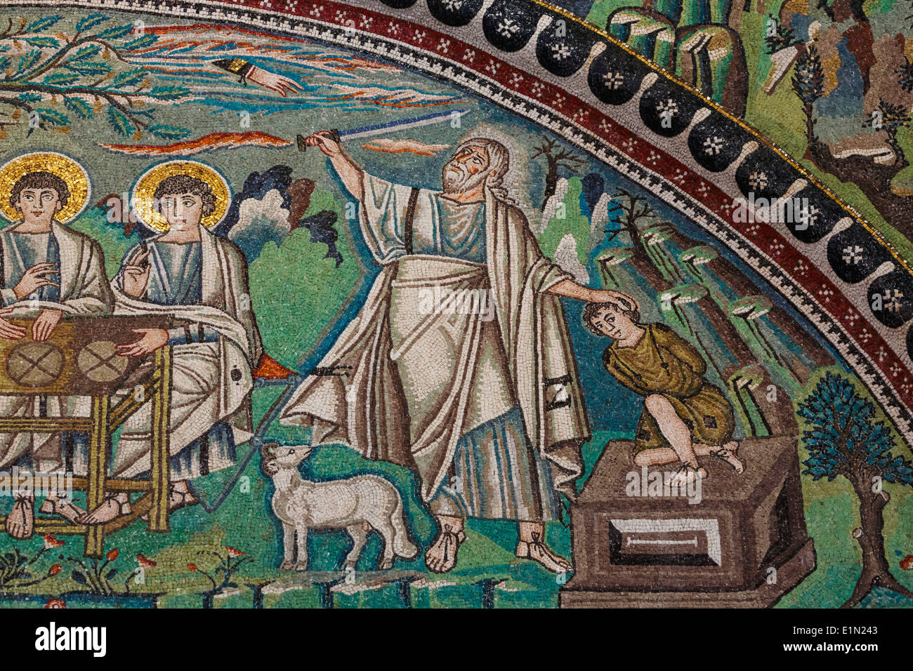 Ravenna, Ravenna Province, Italy. Mosaic in San Vitale basilica. Detail of The Hospitality of Abraham and the Sacrifice of Isaac - Stock Image
