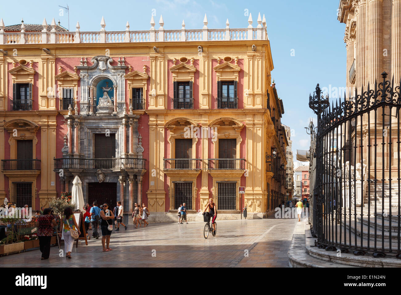 Malaga, Malaga Province, Costa del Sol, Andalusia, southern Spain. Palacio Episcopal, or Episcopal Palace, in Plaza del Obispo. - Stock Image