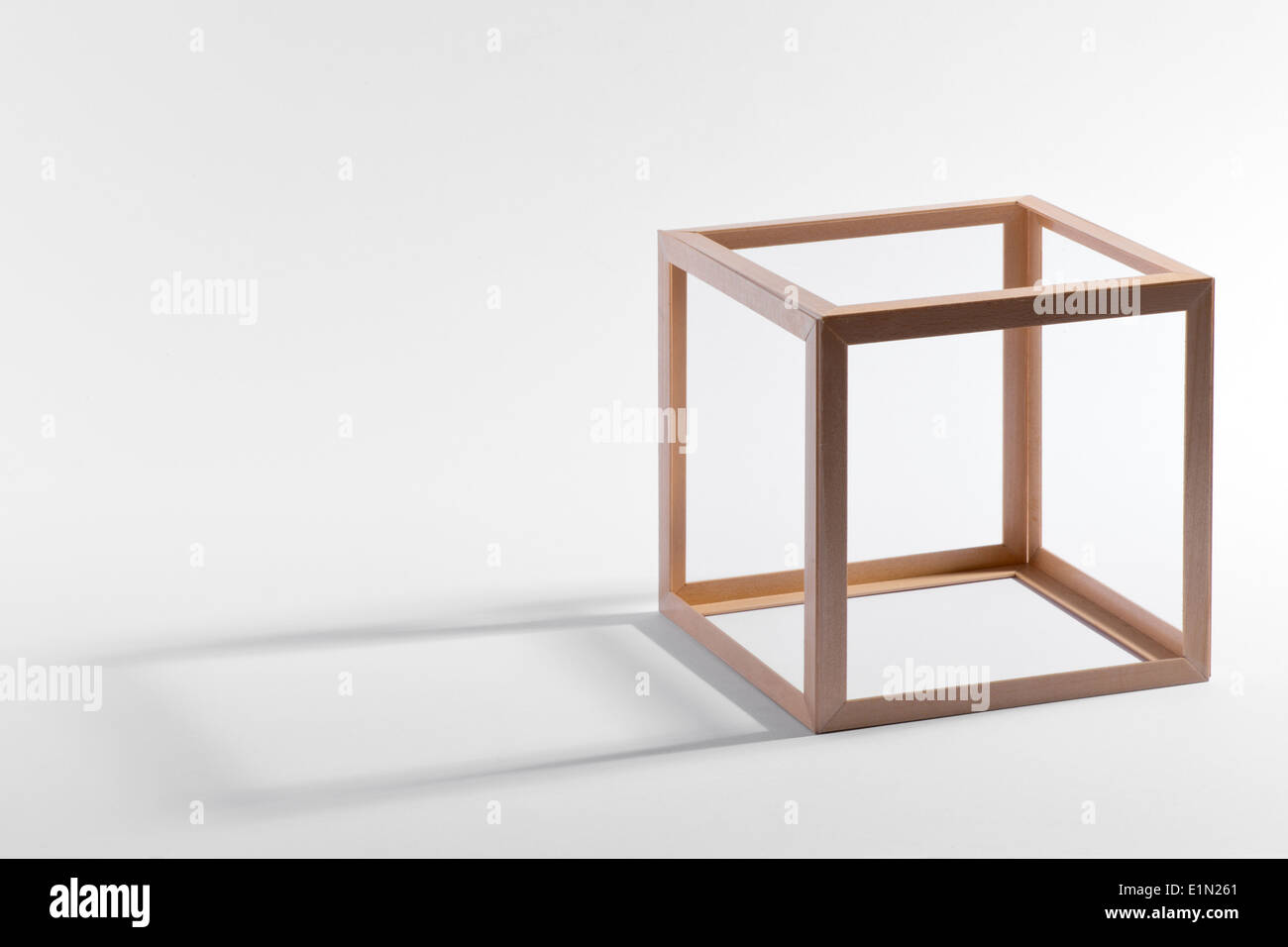 Empty wooden cubic frame - Stock Image