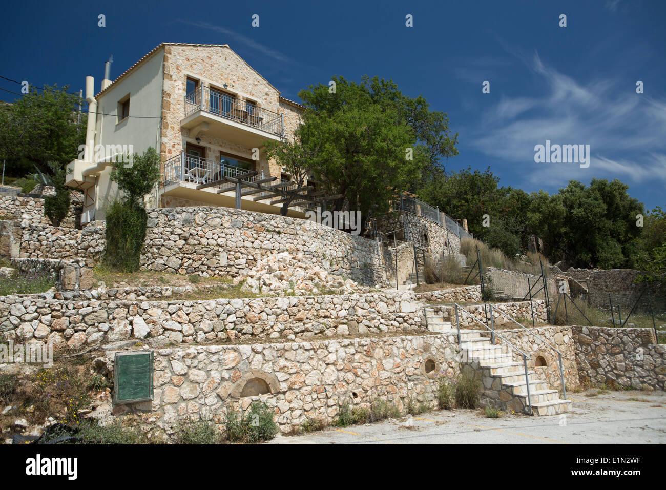Looking up at Kelari Taverna, Kefalonia, Greece Stock Photo