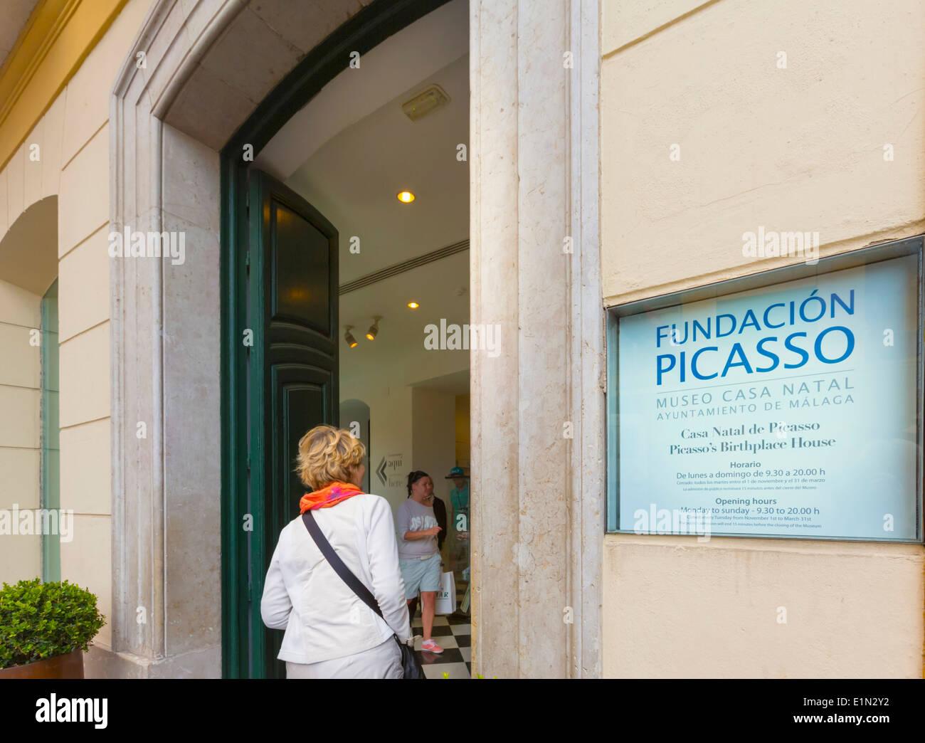 Malaga, Malaga Province, Costa del Sol, Andalusia, southern Spain. Picasso Foundation in Plaza de la Merced. Fundación Picasso. - Stock Image