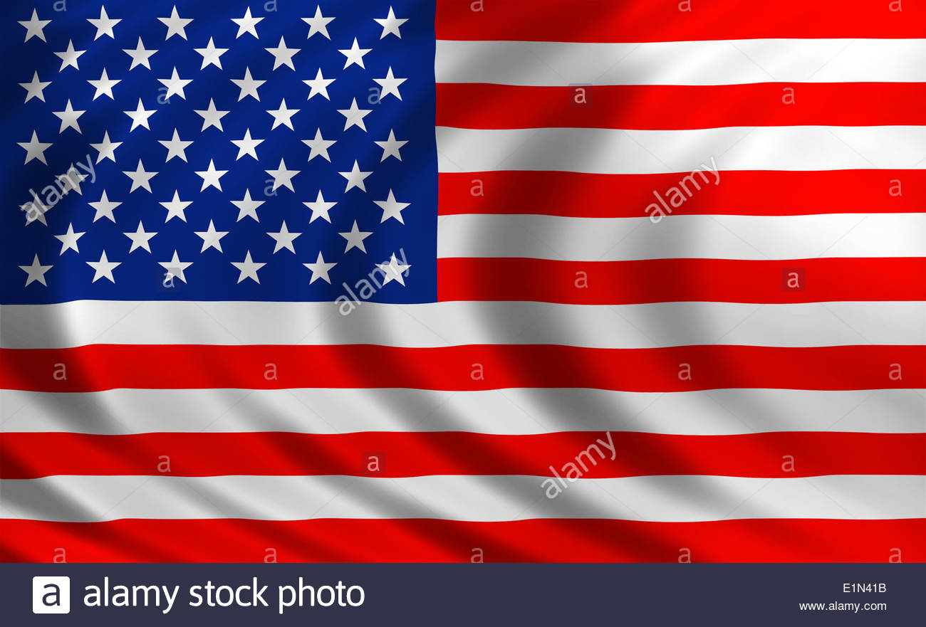 United States of America flag banner icon of silk - Stock Image
