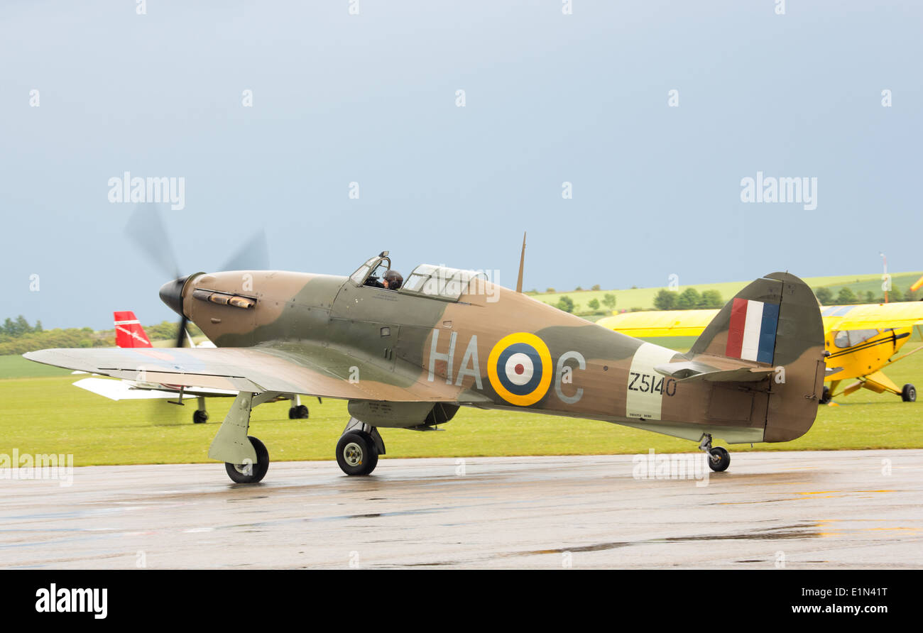 A World War 2 Hawker Hurricane getting ready for take off at the Duxford Air Show - Stock Image