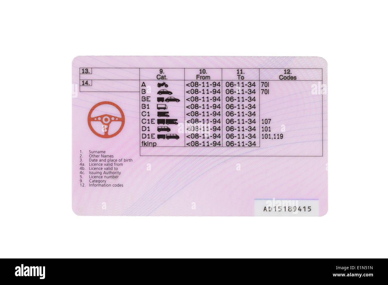 UK driving licence back side - Stock Image