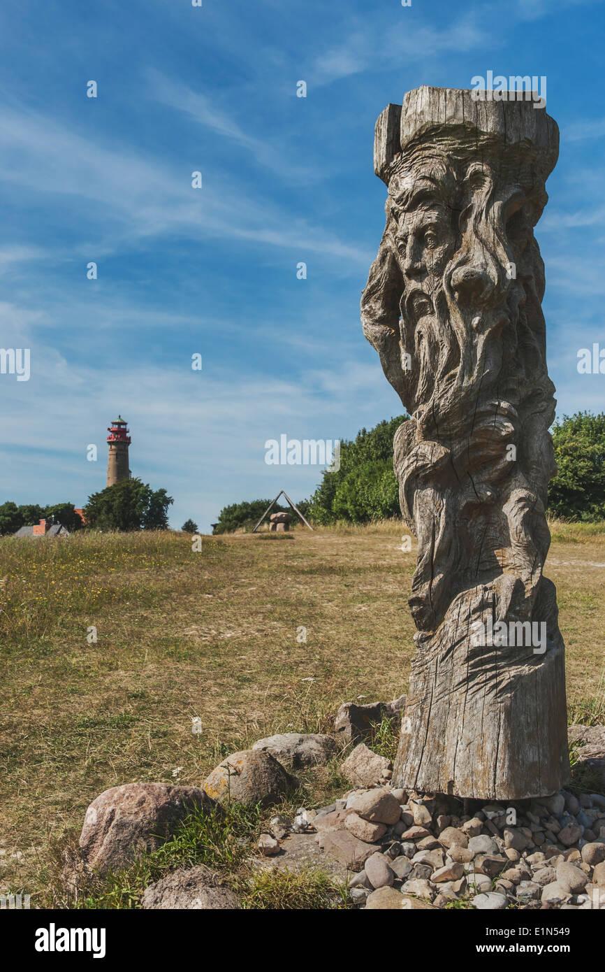 God sculpture Svantevit, Jaromarsburg at Cape Arkona, Wittow, Ruegen Island, Mecklenburg-Western Pomerania, Germany, Europe - Stock Image